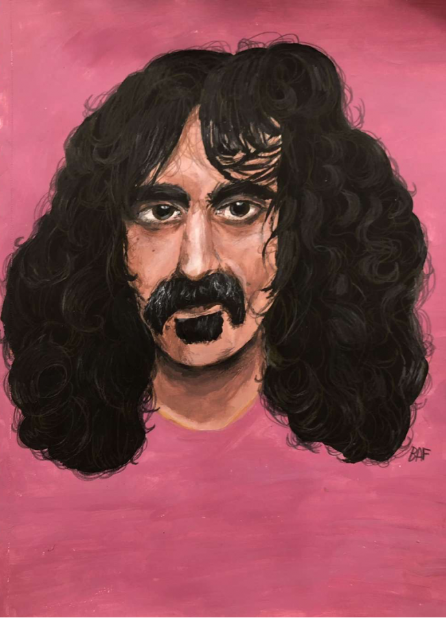 "Brooke F.- ""Frank Zappa has always been a huge inspiration of mine both musically and creatively so one day, I was listening to Apostrophe, the album, and kept looking at it and wondering, 'If only he was smiling a bit…'. So, I tried my best using color pencil, acrylic, ink pens, and all the jazz. He's the one musician I draw the most, so I wanted to make one that counted!"""