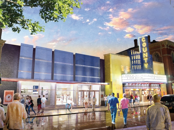A rendering of the finalized design for the theater expansion, which aimed to harmonize with the historic theater and State Street.